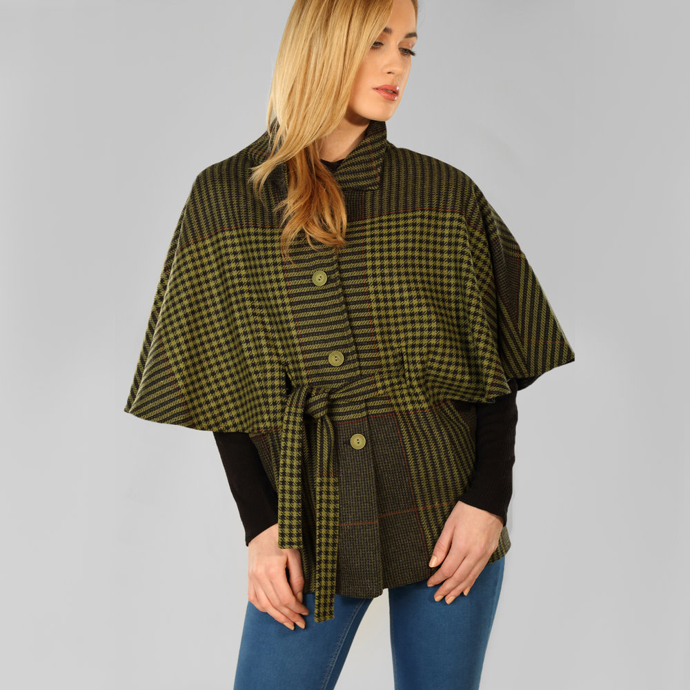 Green Houndstooth Donegal Tweed Belted Cape - SHOP NOW