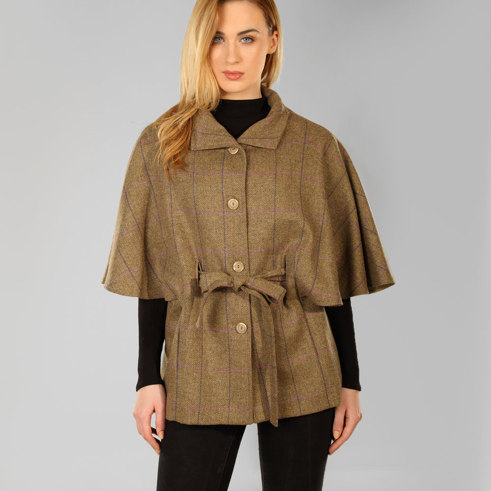 Brown Donegal Tweed Womens Cape - SHOP NOW