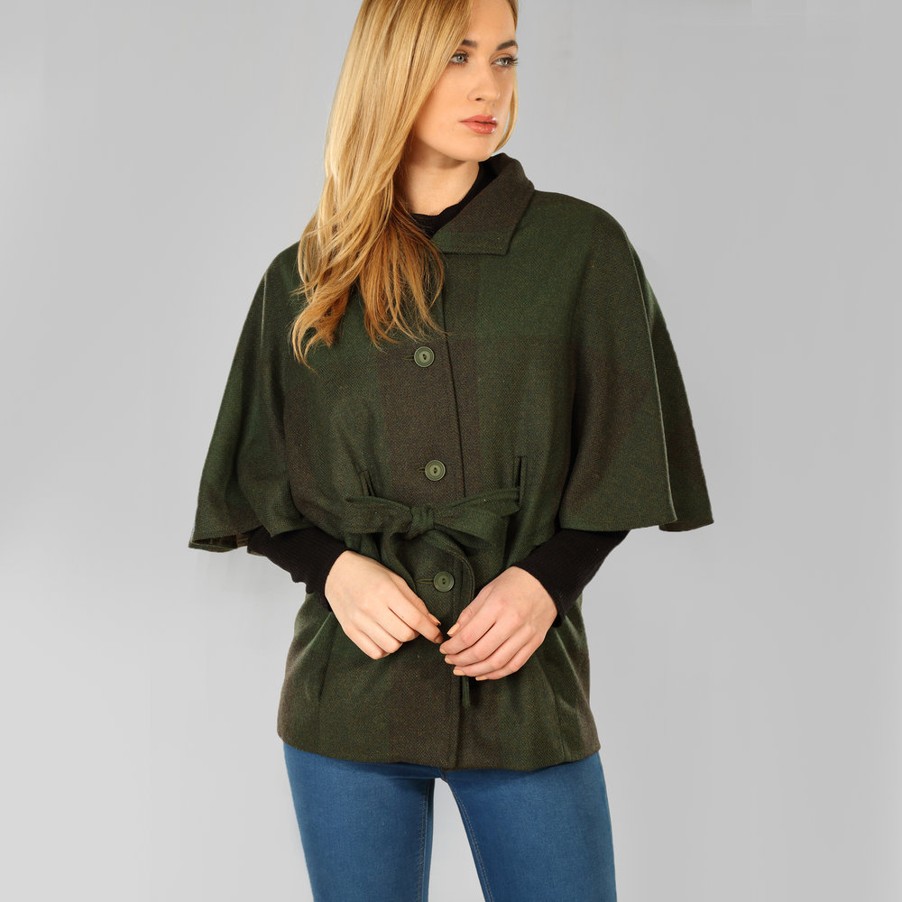 Forest Green Donegal Tweed Belted Cape - SHOP NOW