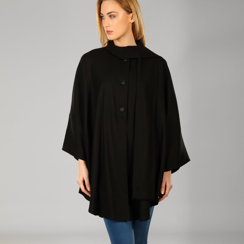 Womens Black Donegal Tweed Cape - SHOP NOW