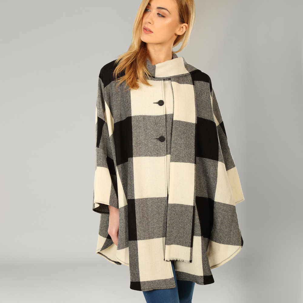 Donegal Tweed Womens Black Check Cape - SHOP NOW