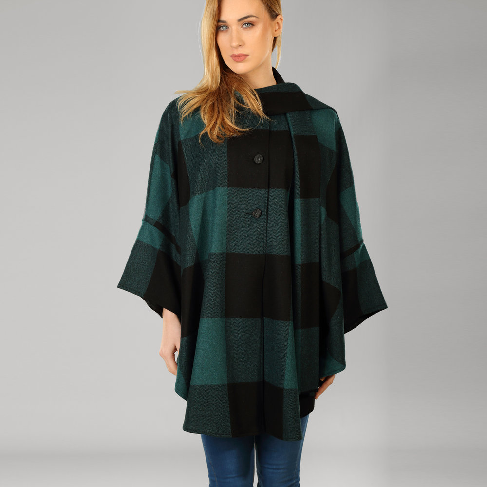 Black Check Womens Donegal Tweed Cape - SHOP NOW