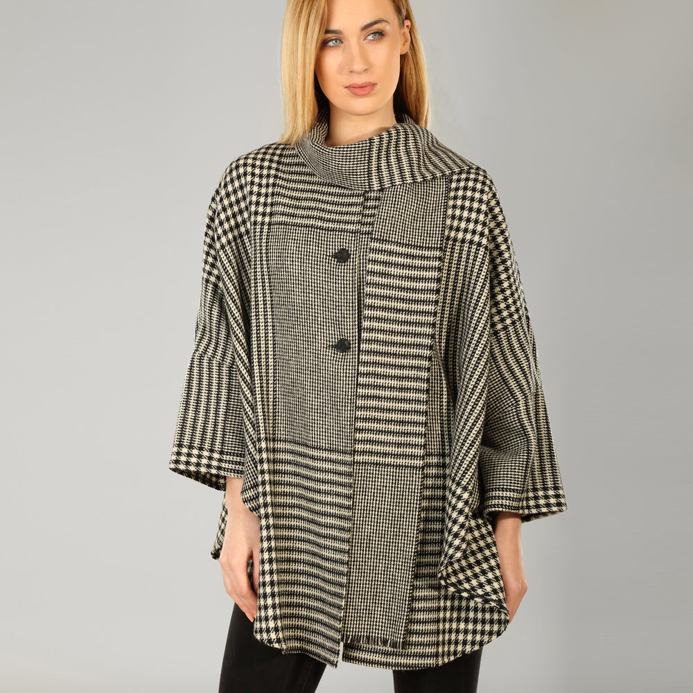 Black Houndstooth Womens Donegal Tweed Cape - SHOP NOW