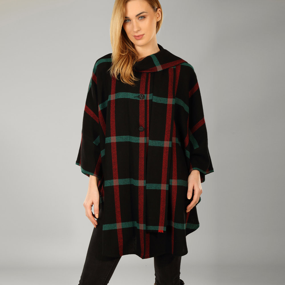 Black & Red Check Womens Donegal Tweed Cape - SHOP NOW