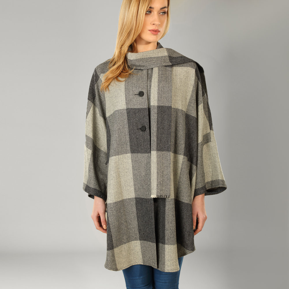 Grey Check Donegal Tweed Cape - SHOP NOW