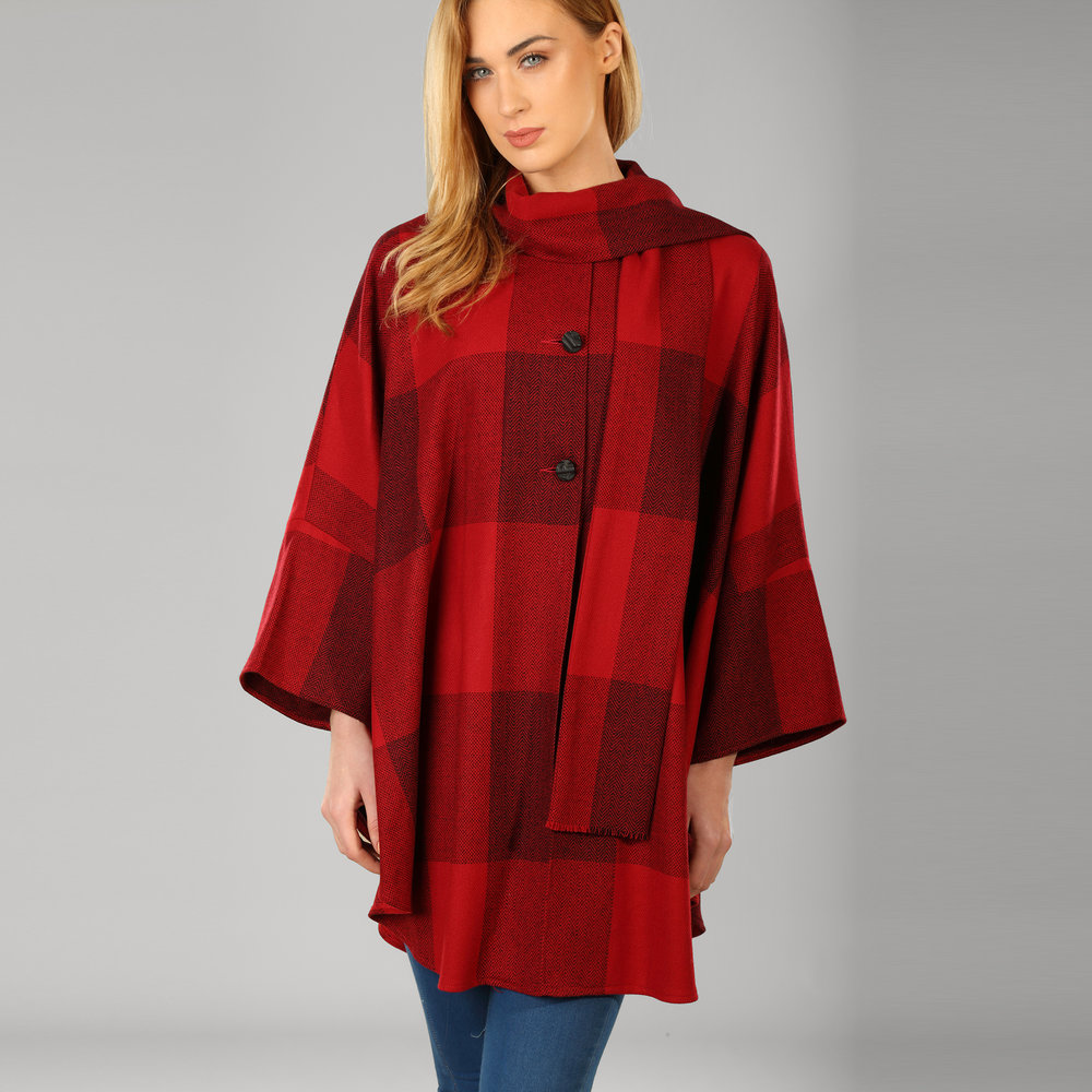 Red Check Womens Donegal Tweed Belted Cape - SHOP NOW