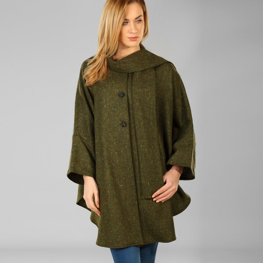 Olive Green Donegal Tweed Cape - SHOP NOW