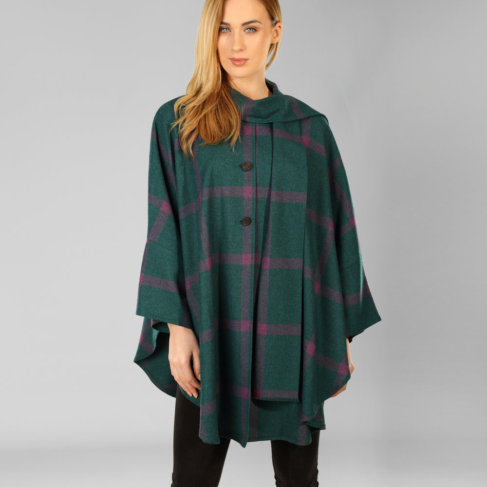 Green & Purple Donegal Tweed Cape - SHOP NOW