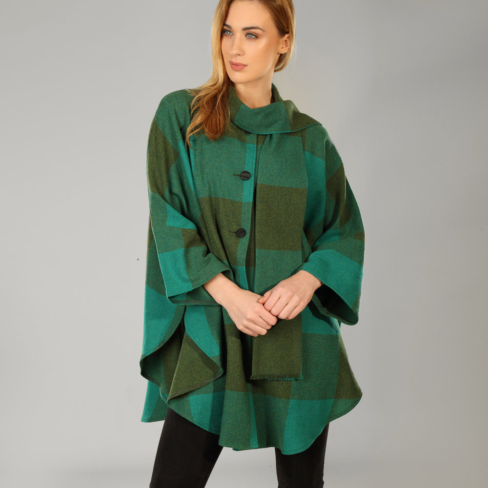 Green Check Womens Donegal Tweed Cape - SHOP NOW