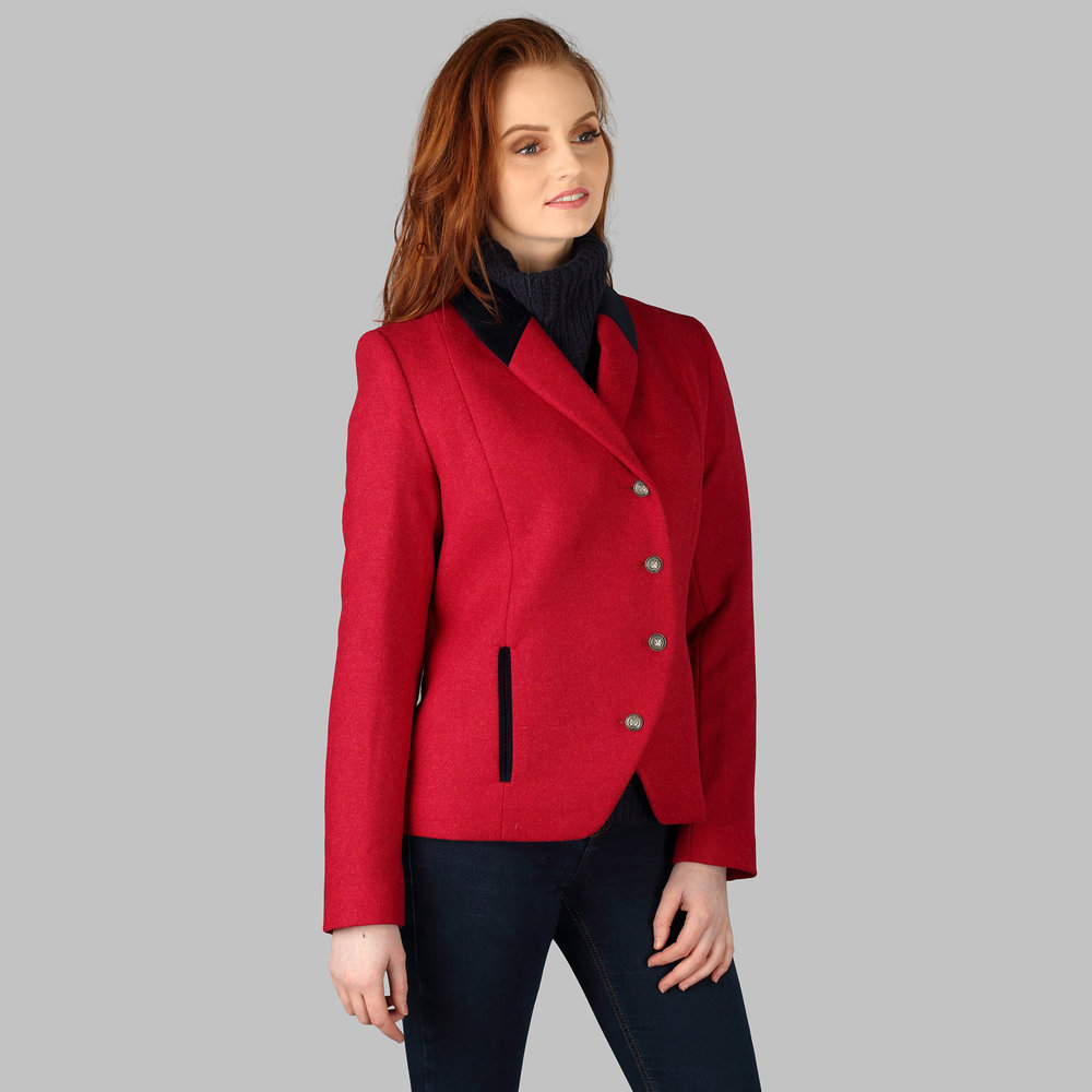 Womens Tweed Jacket, Red - SHOP NOW
