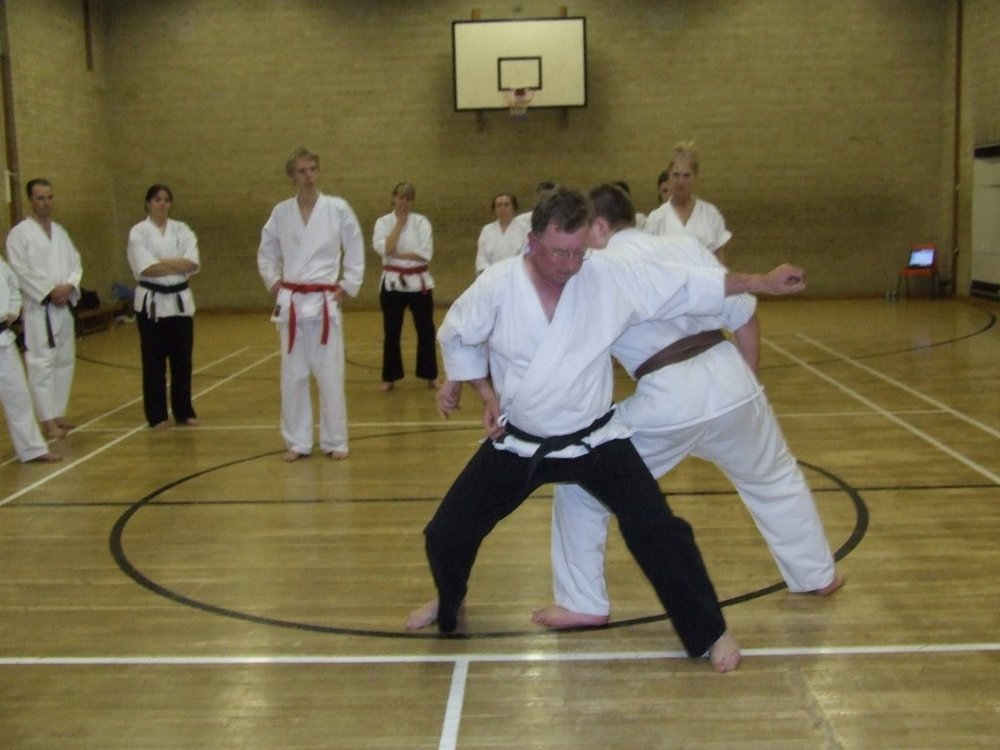 Moving with a partner to avoid a strike is a key skill in karatedo where Ying energy overcomes Yang energy