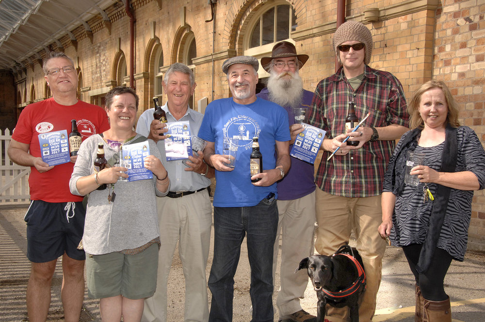 Looking forward to the festival are, L-R, Robert Taylor, Dawn Woollons, Peter Howgate, Les Gallienne and Dave Bamford of Camra with Jez Wilkinson and Jo Davis of Scarborough Studios Ltd (to order photos ring 353597)