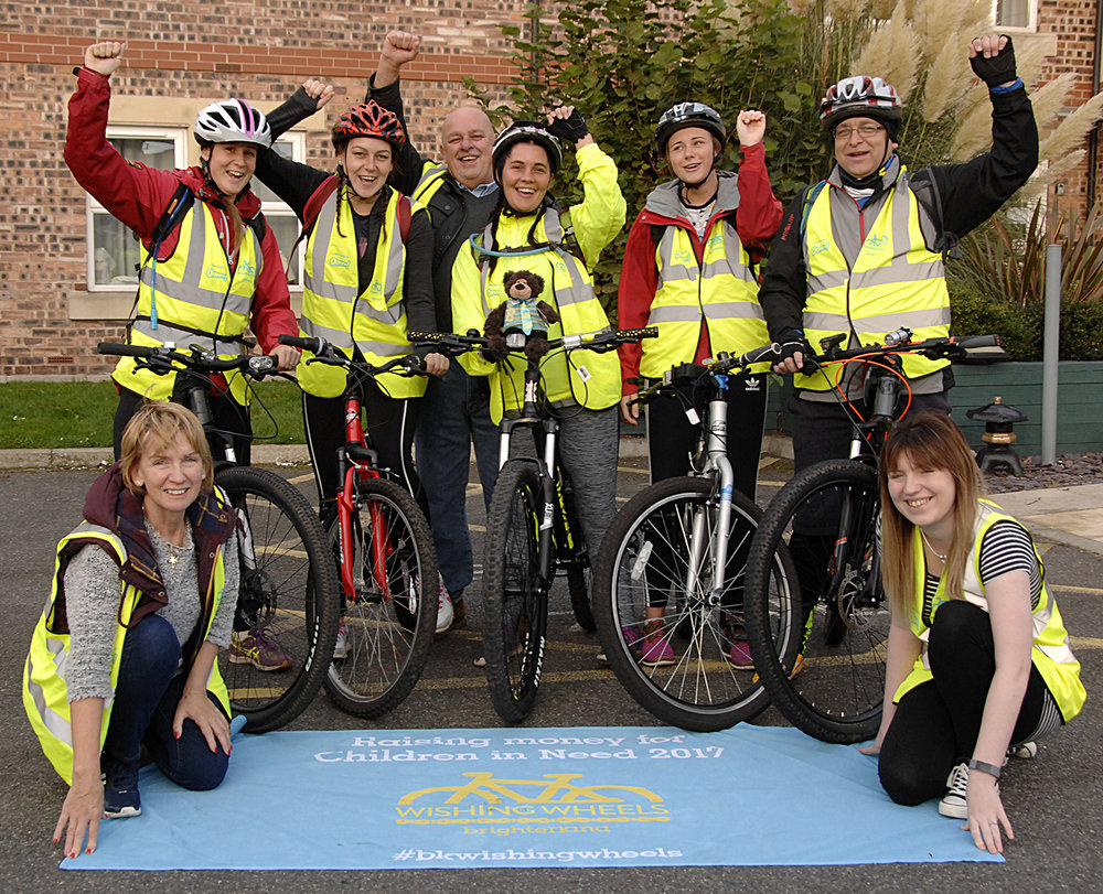 Happy cyclists, L-R, back: Lauren Moor, Jade Ashwell, Jeff Grober, Tanya Adcock, Jessy Aziz and Andy Lucas. Front: Liz Murphy and Skigh Beedham (to order photos ring 01723 353597)