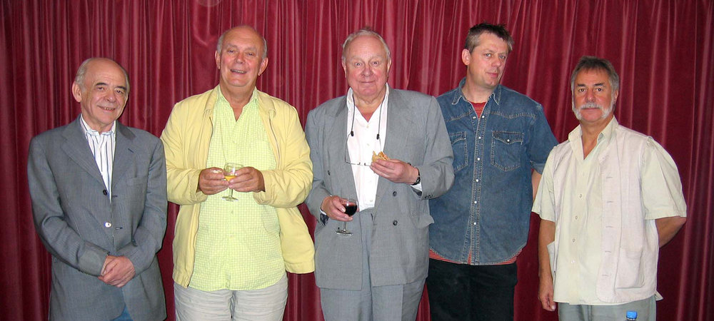 The 2005  Loose Ends  panel featured, L-R, Alan Plater, Alan Ayckbourn, Ned Sherrin, Graham Fellows and Barrie Rutter (photo by Dave Barry)