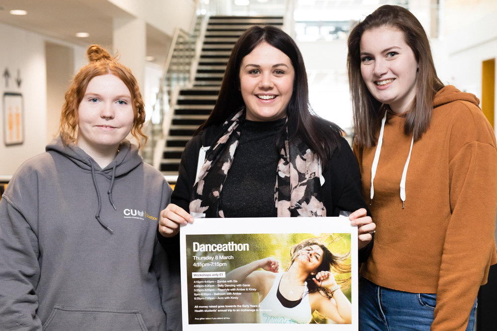 Kirstie Young, Vicky Thorpe and Emmie Charters, from CU Scarborough, prepare for the Danceathon.