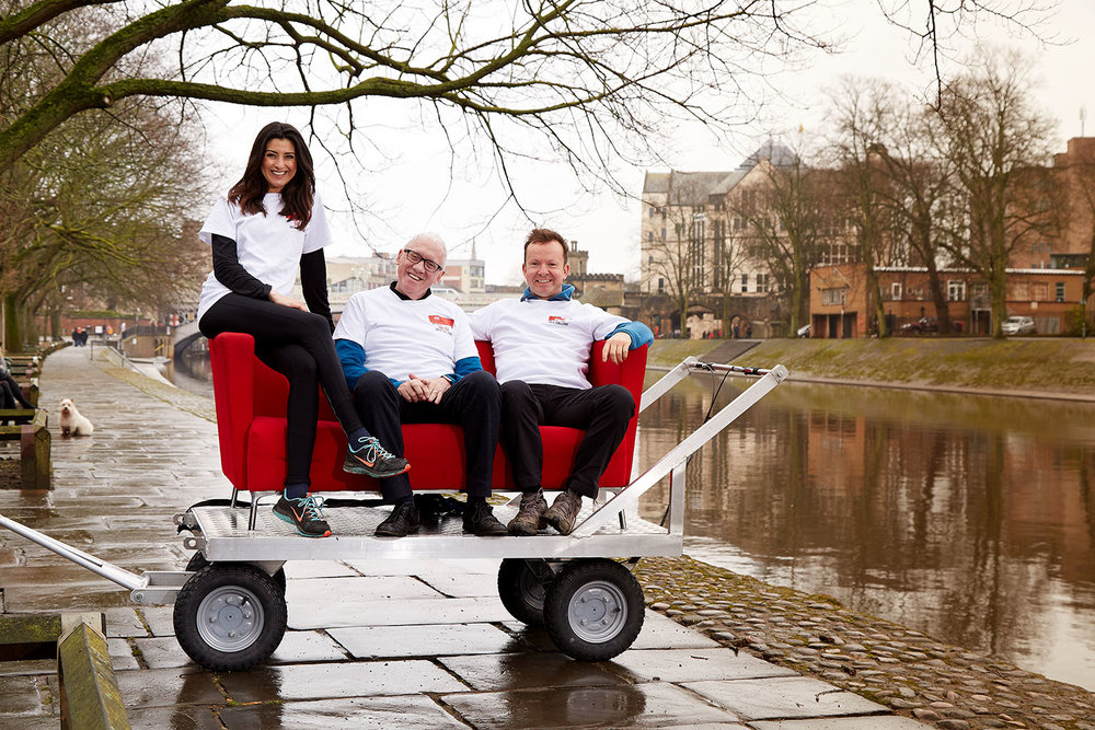 Amy Garcia, Harry Gration and Paul Hudson on the  Look North sofa in York (photo by Claire Wood)