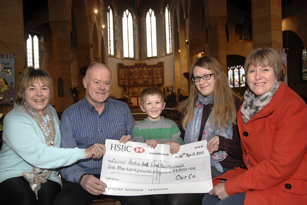 Cheque mates, L-R, Pauline Hainsworth, Andrew Baron, Lucas O'Keeffe, Caroline O'Keeffe and Irene Long at St Columba Church (to order photos ring 353597)
