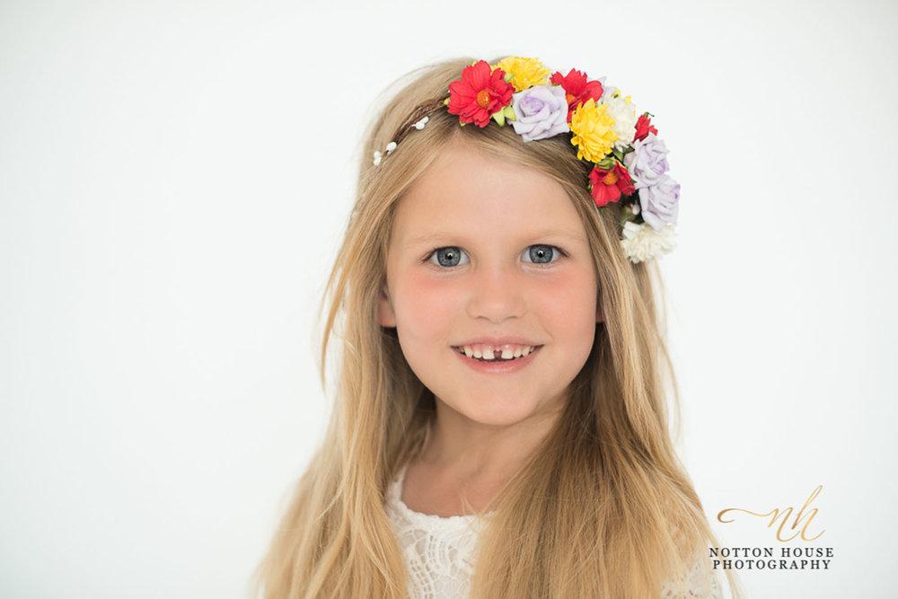 Flower crown on girl, wedding flowers, flower girl, woodland blossoms, notton house photography, shropshire, telford
