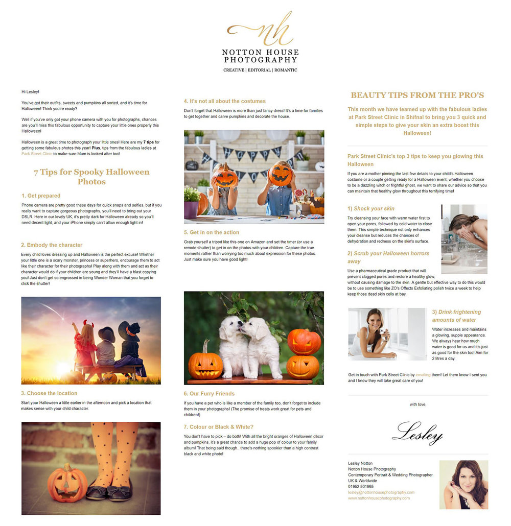 October Newsletter for Notton House Photography