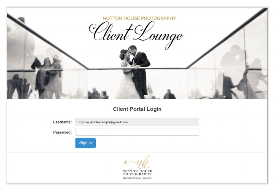 The login page for your Client Lounge!