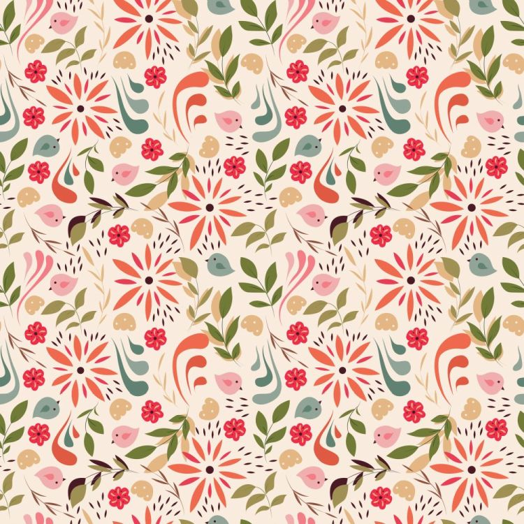 Seamless pattern design with little flowers, floral elements, bi