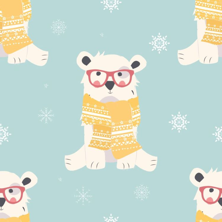 Seamless Merry Christmas patterns with cute polar bear animals