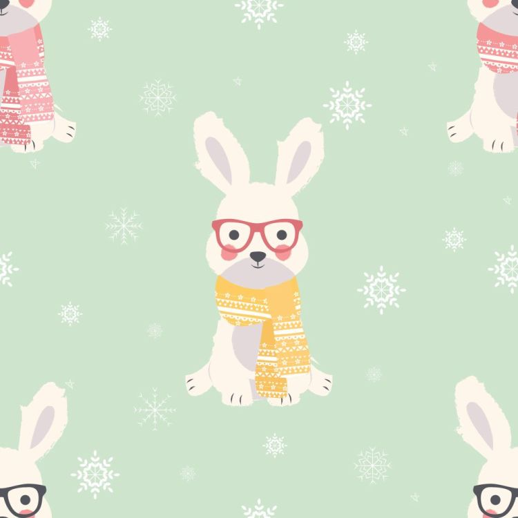 Seamless Merry Christmas patterns with cute polar rabbit animals
