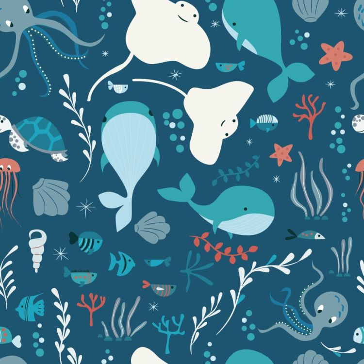 Seamless pattern with underwater ocean animals, whale, octopus,