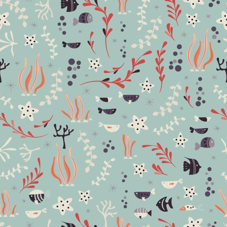Seamless pattern with underwater ocean animals, cute fish and pl