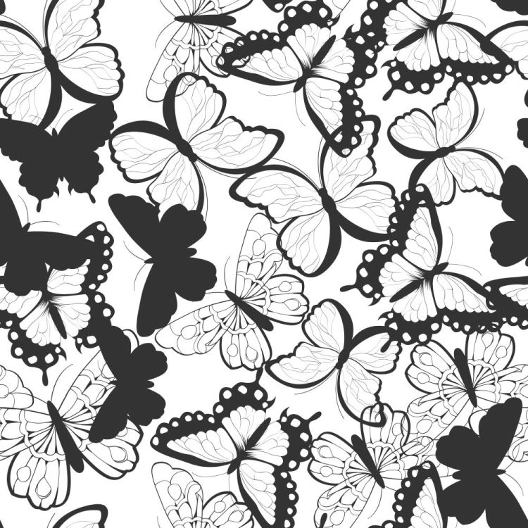 Seamless vector pattern with hand drawn silhouette butterflies,