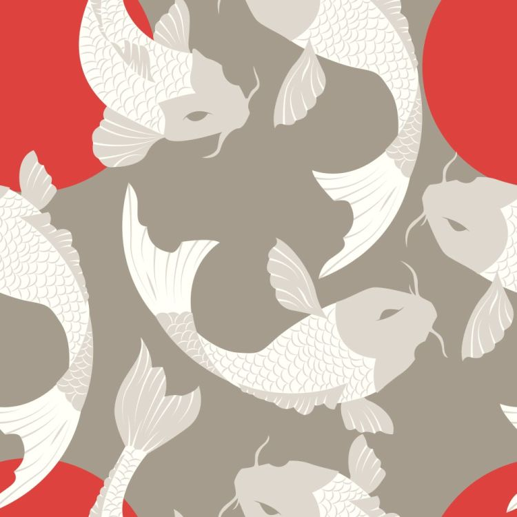 Seamless pattern with carp koi fish and sun, traditional japanes