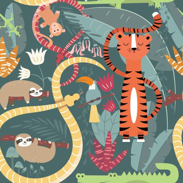 Seamless pattern with cute rain forest animals, tiger, snake, sl