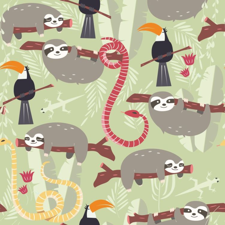 Seamless pattern with cute rain forest animals, toucan, snake, s