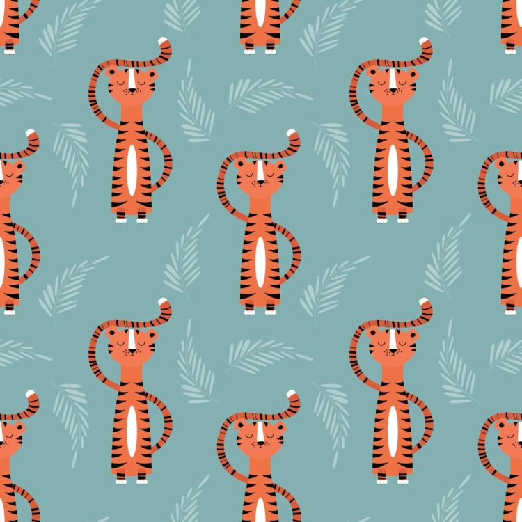 Seamless pattern with cute jungle orange tiger on blue backgroun