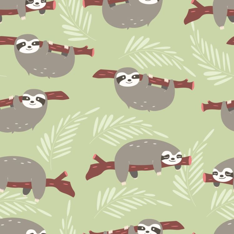 Seamless pattern with cute jungle sloths on green background
