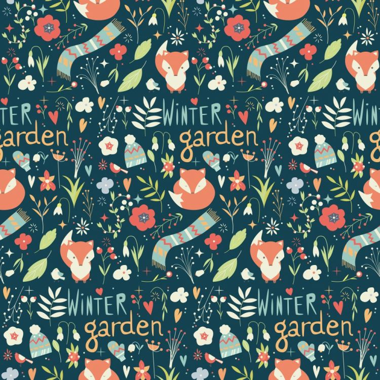 Seamless pattern with winter garden flowers, foxes and scarf, ha