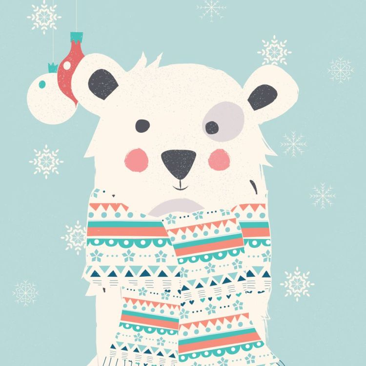 Merry Christmas postcard with polar white bear wearing scarf