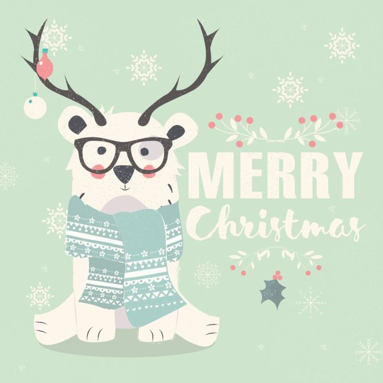 Merry Christmas postcard, hipster polar bear wearing glasses and