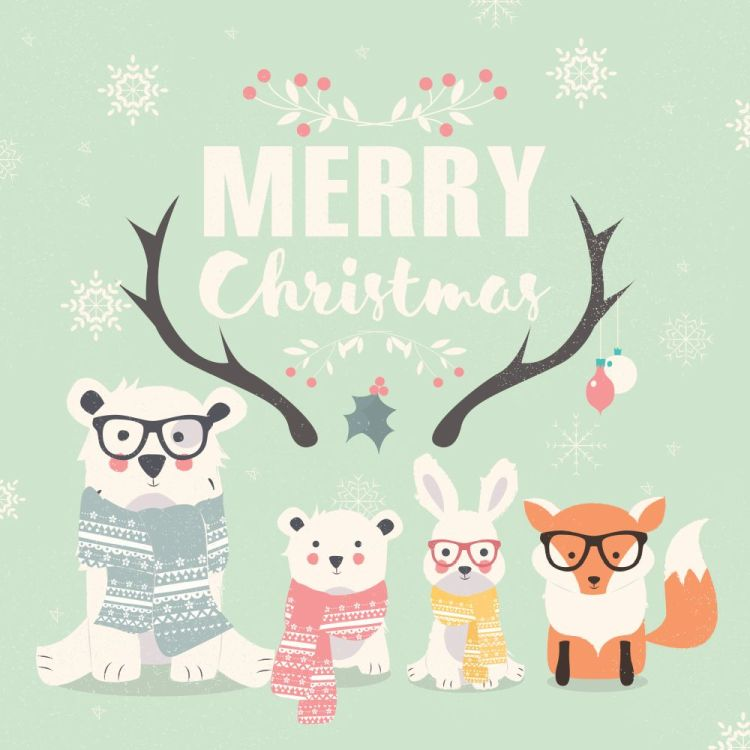 Merry Christmas lettering with hipster polar bears, fox and rabb