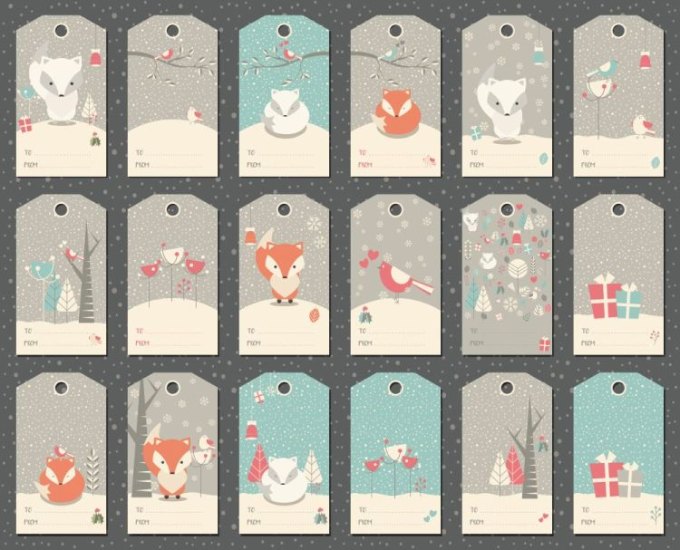 Collection of 18 Christmas and New Year gift tags with foxes, bi