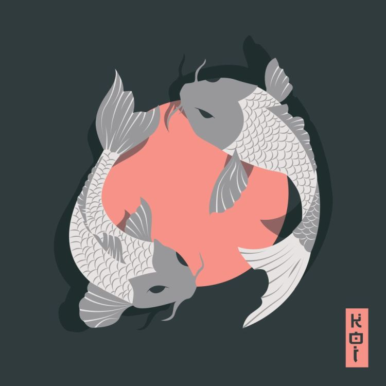 Two carp koi fish swimming around Sun, traditional Japanese styl