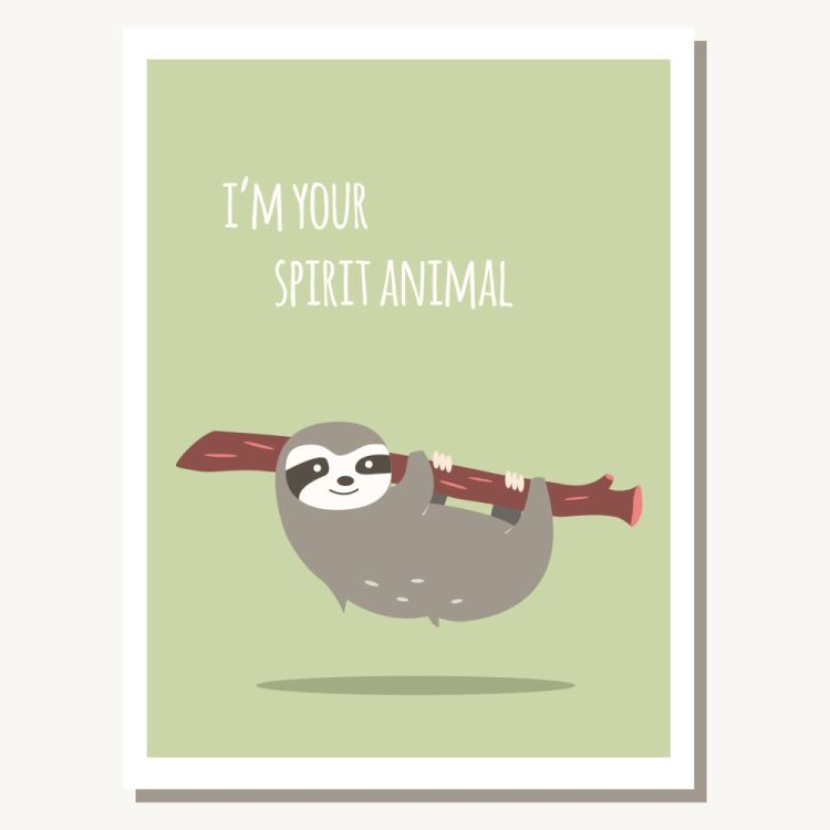 Greeting card with cute lazy sloth and text message