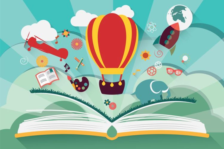 Imagination concept - open book with air balloon, rocket and air