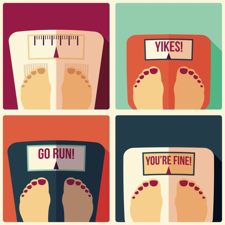 Collection of four bathroom weight scales, flat design