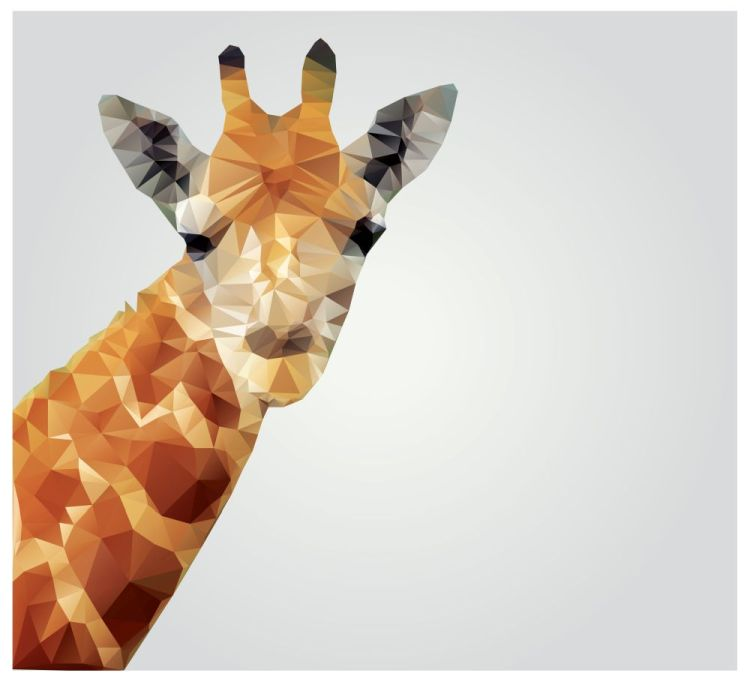 Geometric polygonal giraffe, triangle pattern design, vector ill