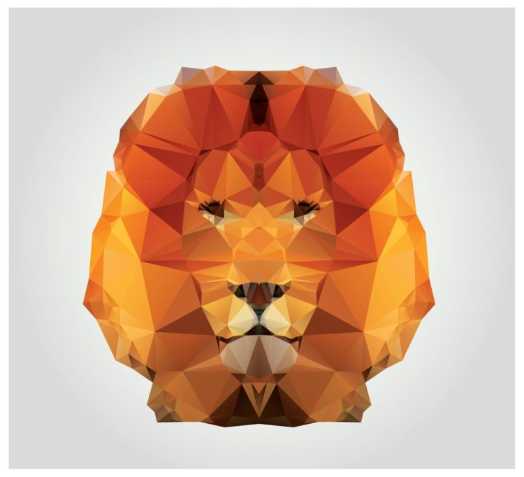 Geometric polygon lion head, triangle pattern