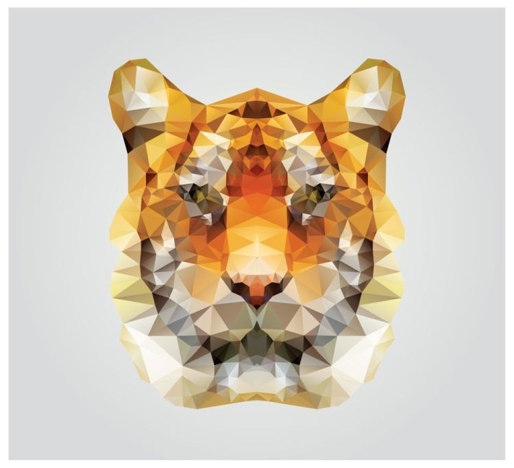 Geometric polygon tiger head, triangle pattern design, vector il