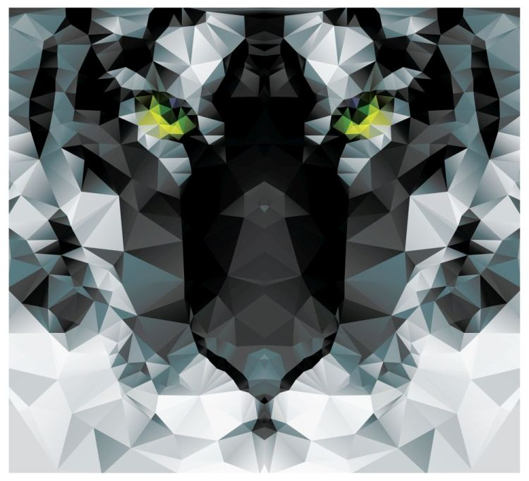 Geometric polygon white tiger head, triangle pattern design, vec