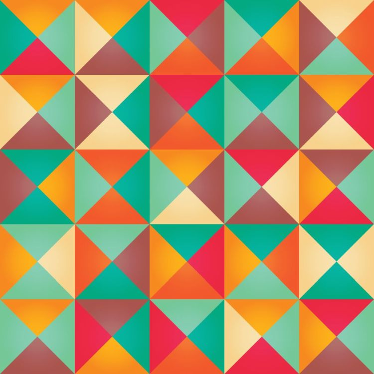 Geometric seamless pattern with colorful triangles in retro desi