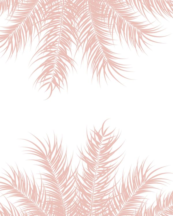 Tropical design with pink palm leaves and plants on white backgr